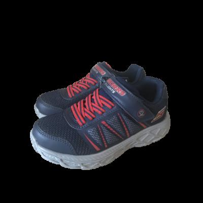 Skechers oldalt világító szürke-kék gumis füzős egy tépőzárral, memória habos fiú sport cipő
