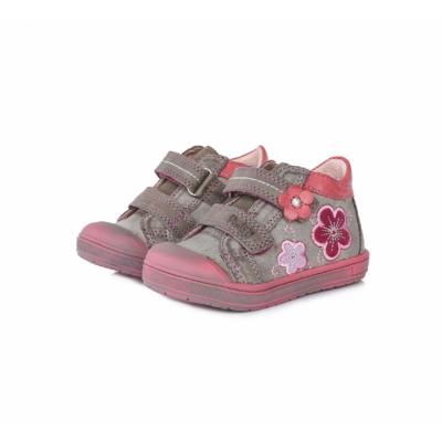 Ponte20 szupinált szürke-rózsaszín két tépőzáras lány cipő kis virágokkal