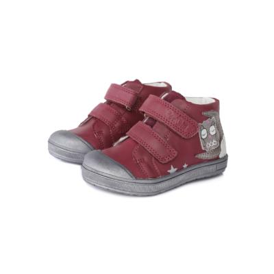 Ponte20 szupinált sötét rózsaszín két tépőzáras lány cipő erősített orral , bagoly mintával