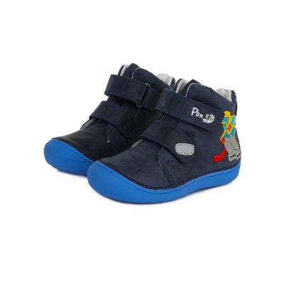 Ponte20 Szupinált kisfiú magas szárú cipő ,kék,két tépőzárral állítható hokis mintával, normál és széles lábra is jó,nem engedi bedőlni a bokát