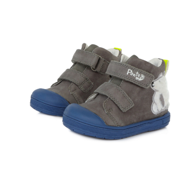 Ponte20 Szupinált kisfiú magas szárú cipő szürke.,két tépőzárral állítható jegesmedve mintával, normál és széles lábra is jó