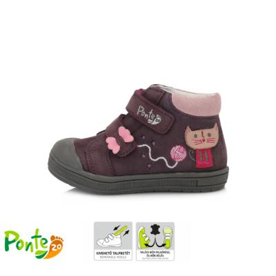Ponte20 szupinált lila-rózsaszin két tépőzáras lány cipő cica mintával