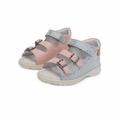 Ponte20 Szupinált csillogó rózsaszín és halvány kék két csat egy tépőzáras  lány szandál ,keskeny és széles lábra is jó