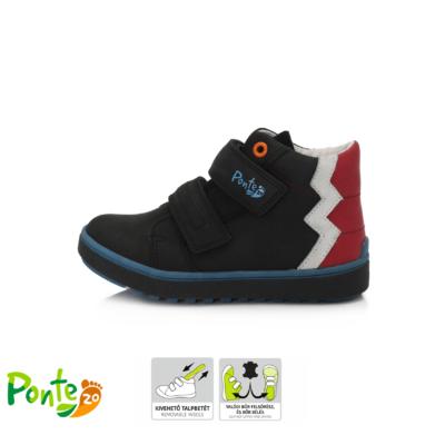 Ponte20 Szupinált fekete magaskét tépőzáras cipzáros, vízlepergető, fiű cipő