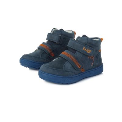 Ponte20 Szupinált Fiú magas szárú cipő kék két tépőzáras,narancssárga hímzéssel, visszakorrigálja a boka bedőlését