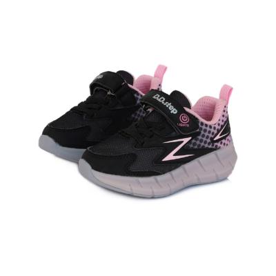 """D.D.Step Lány """"világító"""" sportcipő,fekete-barack,két tépőzárral állítható, vízlepergető"""