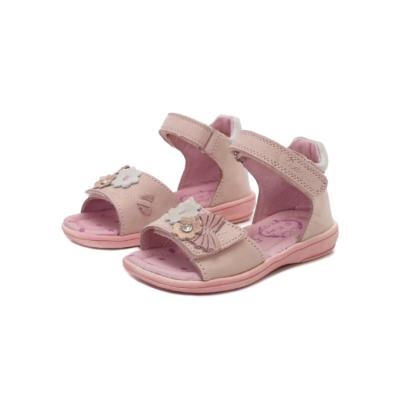 D.D,step világos rózsaszín elől tépőzáras lány szandál kis virágokkal